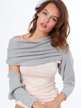 Shoulder wrap sweater grey.