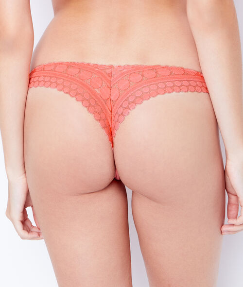 MICROFIBER AND LACE TANGA