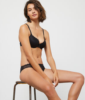Soft bra: lace padded demi cup black.