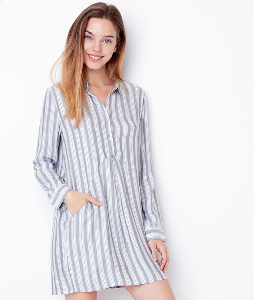 Striped viscose nightdress