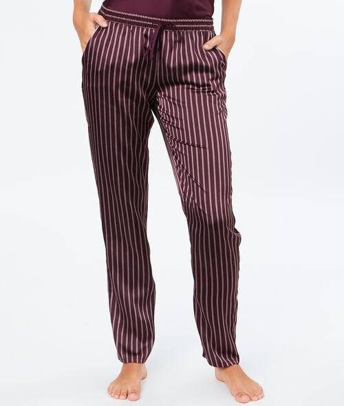 Striped satine pyjama pants