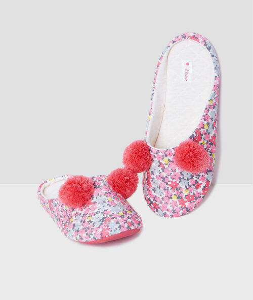 Floral print slippers with pompoms