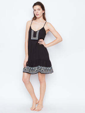 Printed nightdress black.