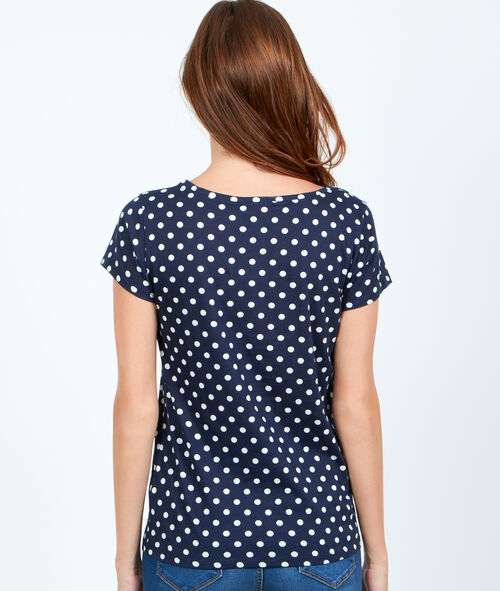 V-neck t-shirt with polka dot print