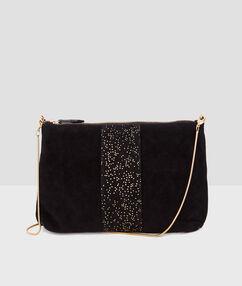 Glitter clutch bag black.