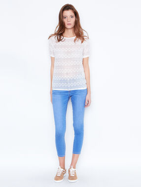 Short sleeve lace top white.