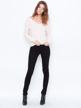 V-neck sweater with button back detail light pink.