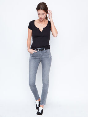 Embroidered slim jeans grey.