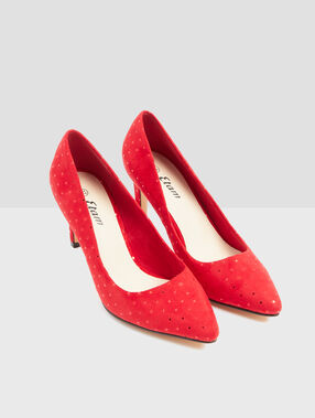 Dotty heeled court shoes red.