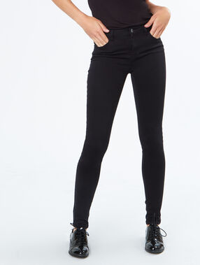 Cotton slim pants black.
