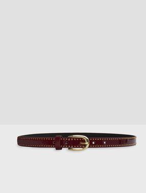 Studded belt burgundy.