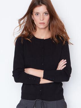 Round collar cardigan black.