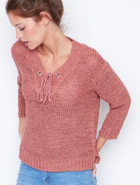 V-neck sweater nude.