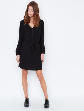 Belted dress with mesh detail in the back black.