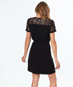 Lace sleeves dress black.