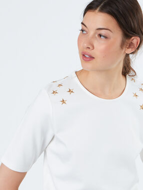 T-shirt with embroidered stars white.