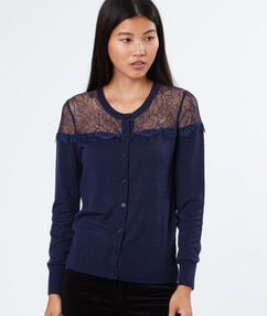 Laced cardigan navy.