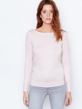 Fine knit slash neck sweater light pink.