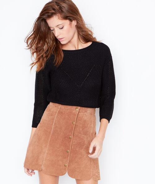 Knit round collar sweater