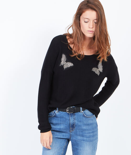 Round collar jumper with front butterflies patchs