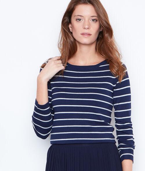 Striped jumper with slash neck