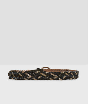Braided belt black/khaki/gold.