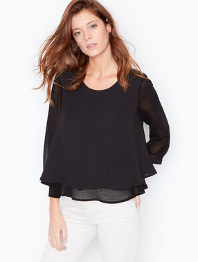 Layered top with sheer sleeves black.