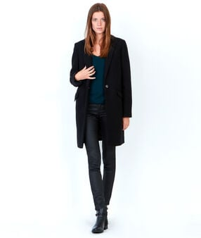 Wool coat with tailored aspect collar black.