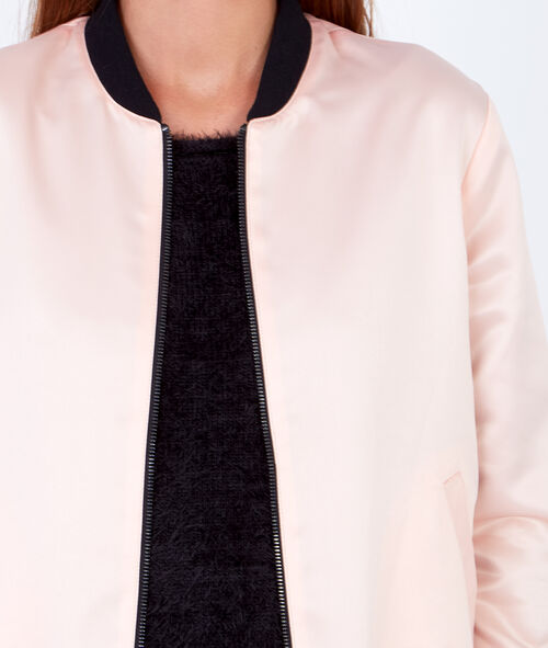 Reversible bomber jacket with a satin finish