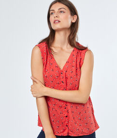 Sleeveless printed blouse coral.