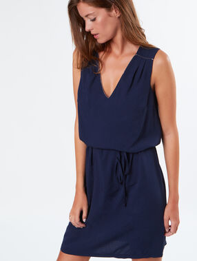 Tie waist dress navy.
