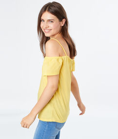 Cold shoulders top yellow.