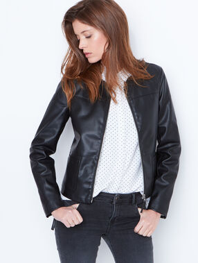 Round collar jacket black.
