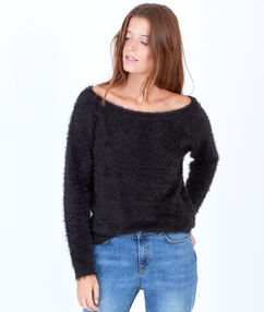 Fluffy knit jumper with slash neck black.