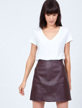 A-line skirt, leather effect wine.