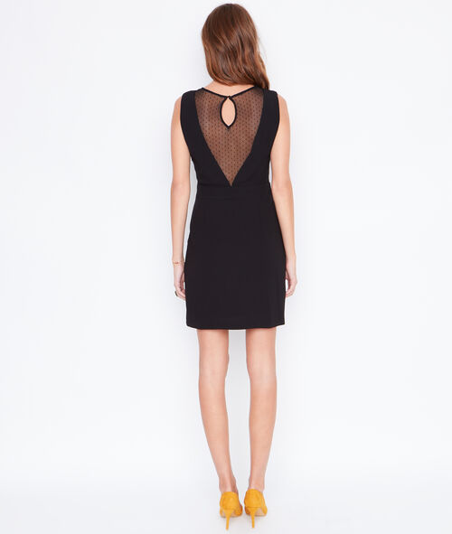 Wrap dress with lace inserts