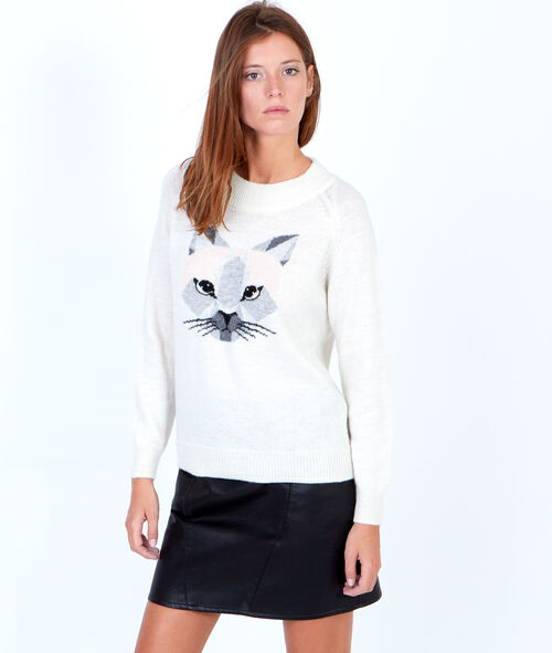 Wool knitted jumper with cat motif