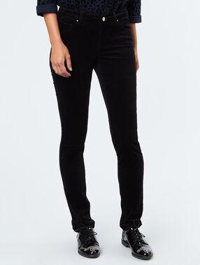 Slim cotton pants black.