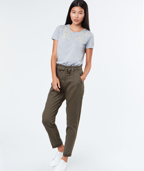 Tie waisted cotton pants