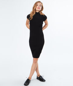 Sweater dress with stand-up collar black.