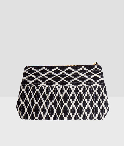 Two-tone clutch with pompom