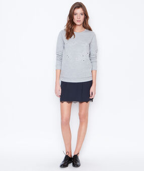Round collar sweatshirt grey.