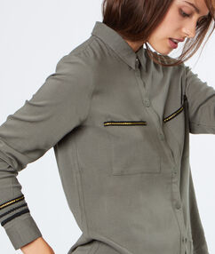 Shirt with embroideries khaki.