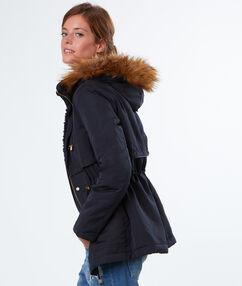 Coat with fake fur hood navy.