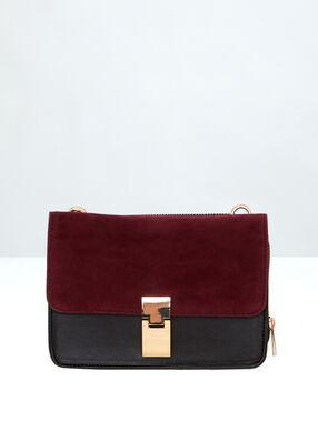 Two-tone clutch bag burgundy.
