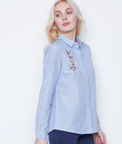 Embroidered shirt blue.