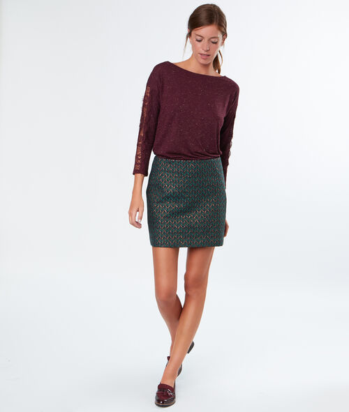 Jacquard skirt with golden details