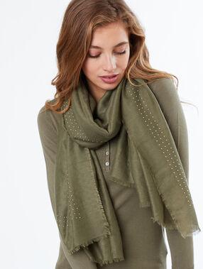 Studded scarf khaki.