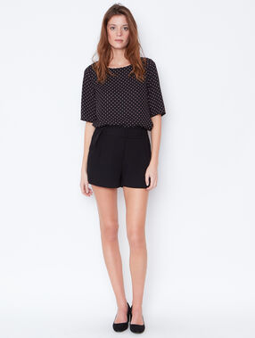 Dotty top with lace back detail black.