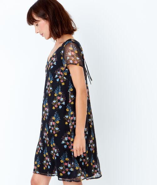 V back printed dress